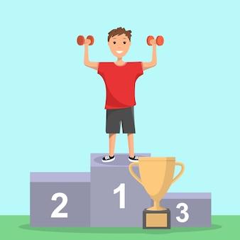 Happy boy se regocija en la victoria de la competencia deportiva