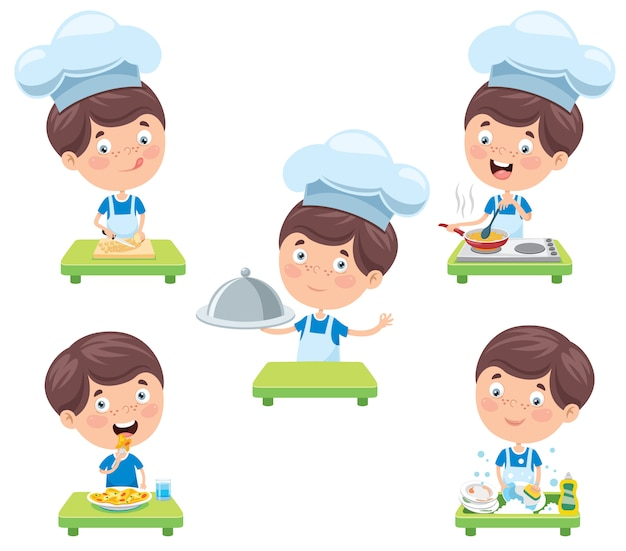 Happy cute little chef cooking