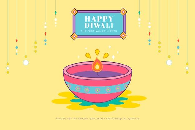 Happy deepavali, el festival de luces de fondo.