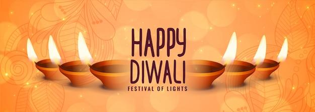 Happy diwali banner decorativo del festival diya