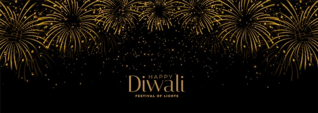 Happy diwali fireworks black and gold banner