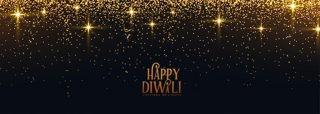 Happy diwali golden sparkles and glitter banner