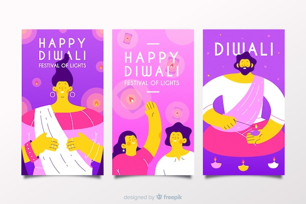 Happy diwali instagram stories pack