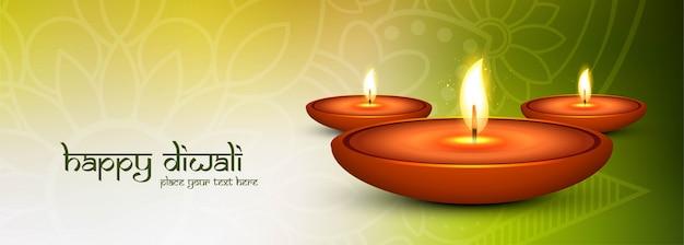 Happy diwali y lámparas de aceite iluminadas banner de redes sociales