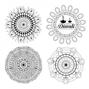 Happy diwali mandalas collection