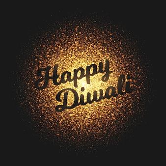 Happy diwali partículas que brillan intensamente doradas