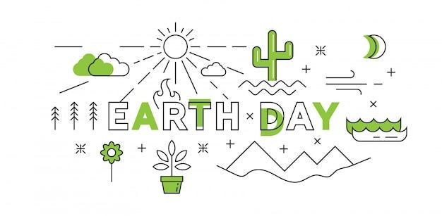 Happy earth day flat line design en verde
