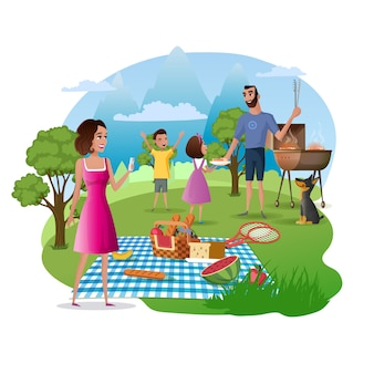 Happy family picnic y caminata en la naturaleza vector