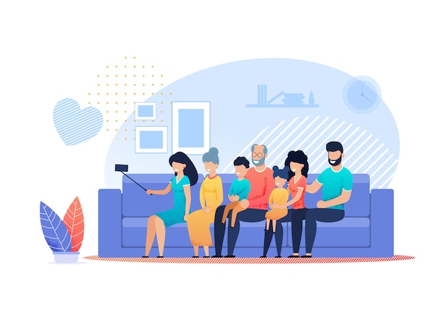 Happy family selfie en casa vector plana de dibujos animados