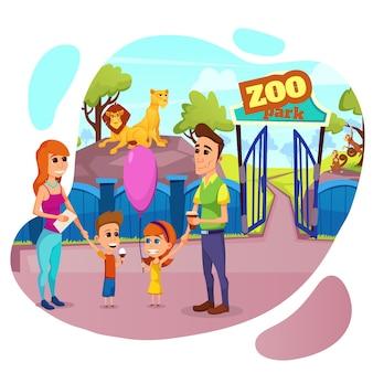 Happy family stand en la entrada al zoológico