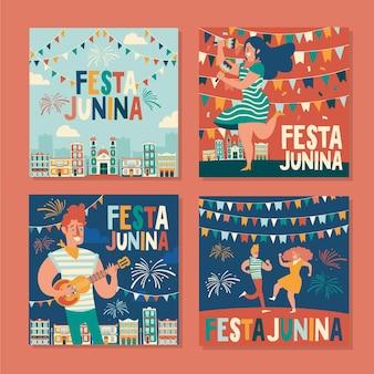 Happy festa junina festival paquete de tarjetas dibujadas a mano