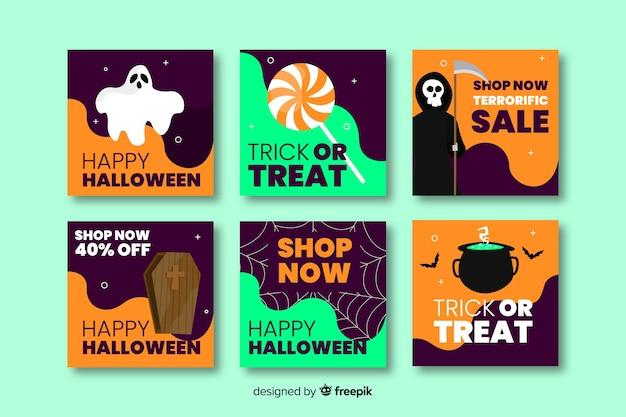 Happy halloween instagram post collection