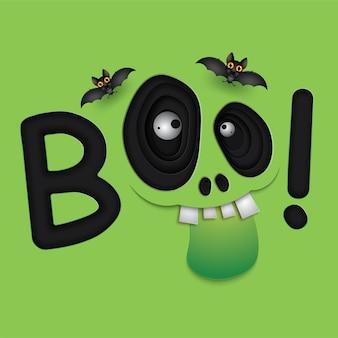 Happy halloween ojos de monstruo verde cráneo
