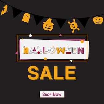 Happy halloween sale banner con letras.