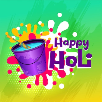 Happy holi color cubo de agua y tarjeta pichkari