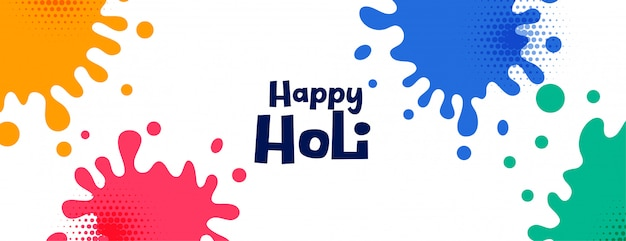 Happy holi colorido salpicaduras festival banner