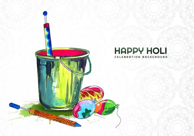 Happy holi elementos coloridos para diseño de tarjeta