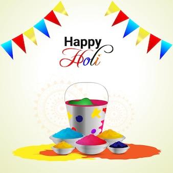 Happy holi elementos realistas con tazón de color