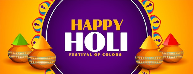 Happy holi festival elegante banner colores