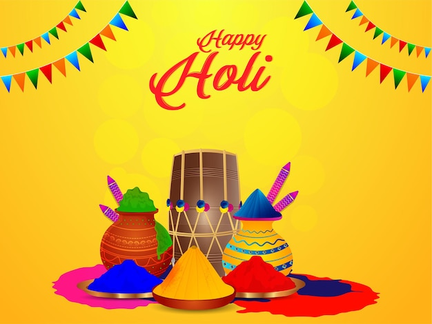 Happy holi plano con olla de barro de color y tambor