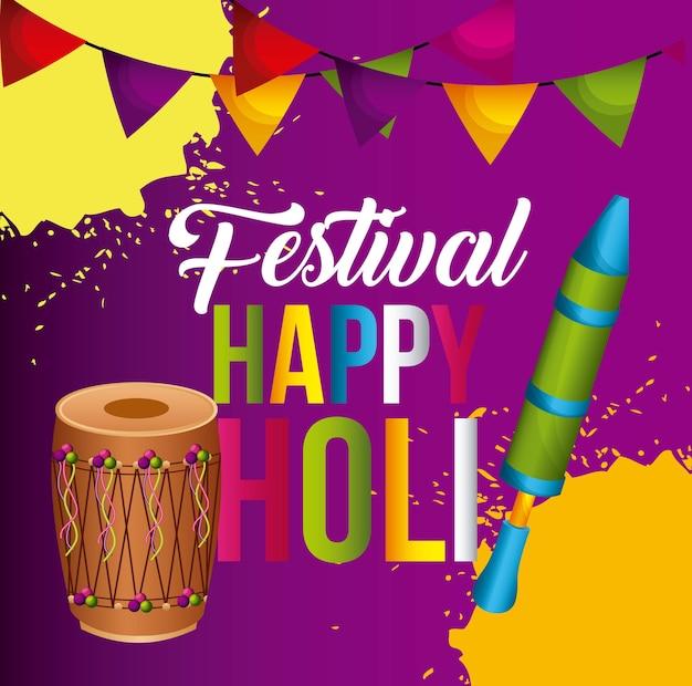 Happy holi poster banderín decoración colorida