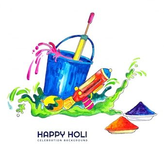 Happy holi para la tarjeta de celebración del festival de los colores