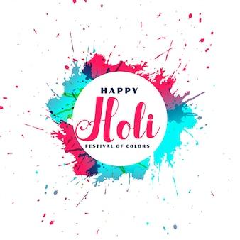 Happy holi tarjeta de marco de salpicaduras de color