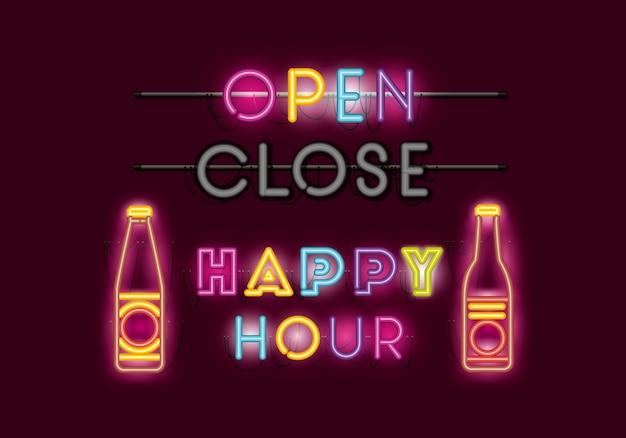 Happy hour con cervezas botellas fuentes luces neon.