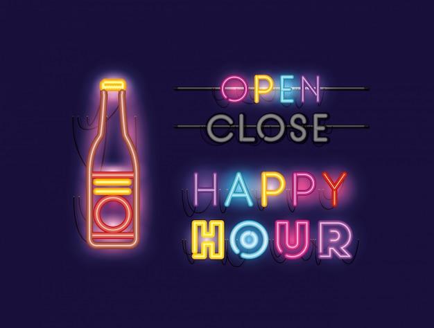 Happy hour con fuentes de botella de cerveza luces de neón