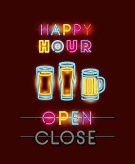 Happy hour con fuentes de cervezas luces de neón