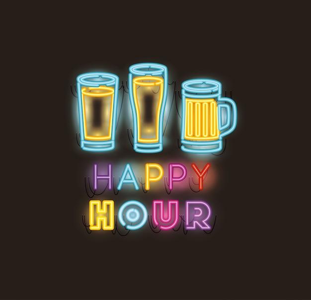 Happy hour con fuentes de tarro de cerveza luces de neón