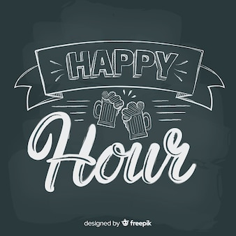 Happy hour letras en pizarra
