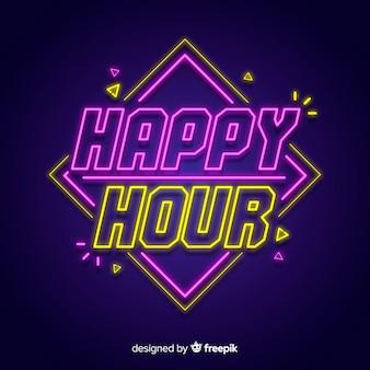 Happy hour letrero de luz de neón