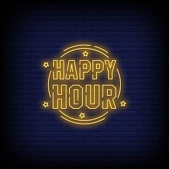 Happy hour letreros de neón estilo texto vector
