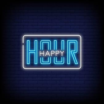 Happy hour letreros de neón estilo de texto
