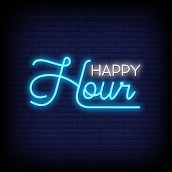 Happy hour letreros de neón