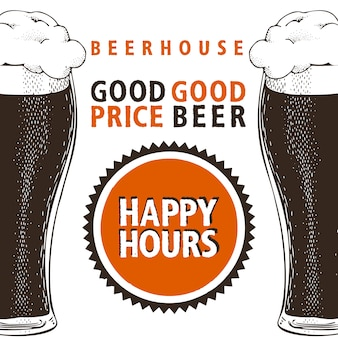 Happy hours banner de cerveza.