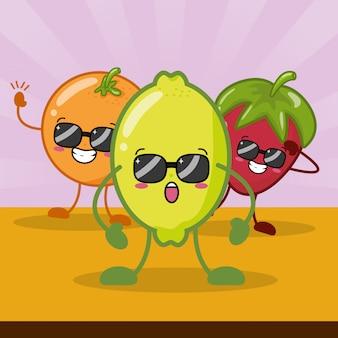 Happy kawaii frutas emojis