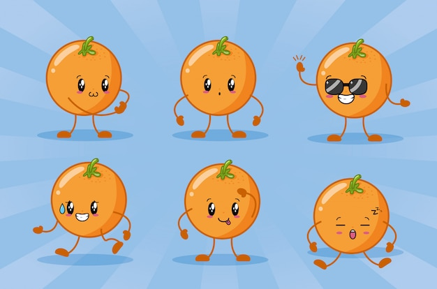 Happy kawaii naranjas emojis