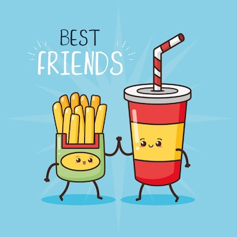Happy kawaii, papas fritas y vidrio de soda, diseño de alimentos, ilustración