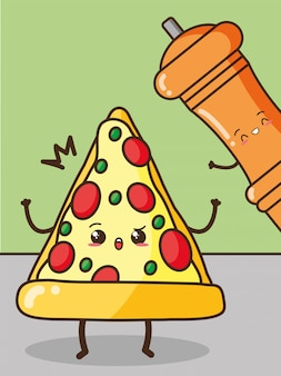 Happy kawaii pizza y pimienta, diseño de alimentos, ilustración