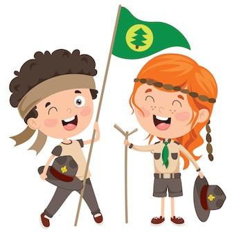 Happy little scout niños sonriendo