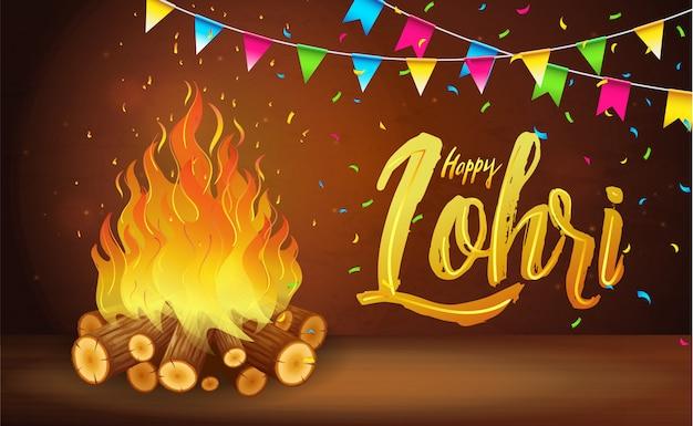 Happy lohri banner, tarjeta de felicitación, celebración del festival punjabi