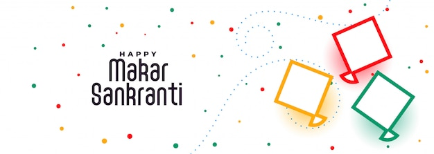 Happy makar sankranti kites festival banner design