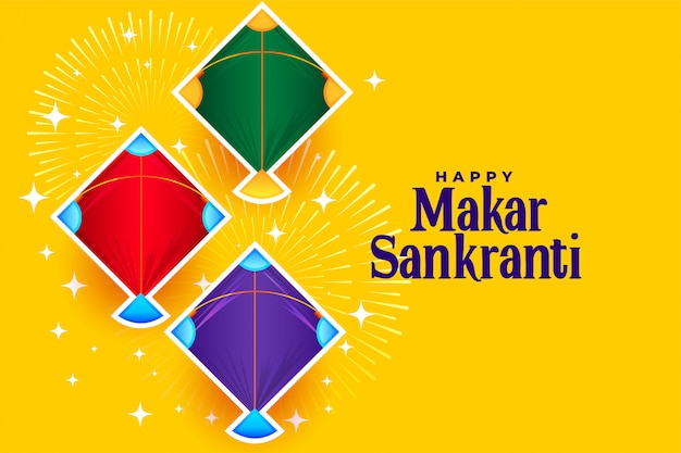 Happy makar sankranti con tres diseños de cometas
