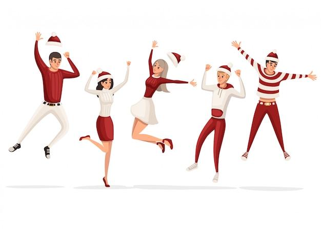 Happy mans y mujeres saltando celebran feliz año nuevo. ropa roja y blanca, traje de navidad. tener gente divertida. ilustración sobre fondo blanco