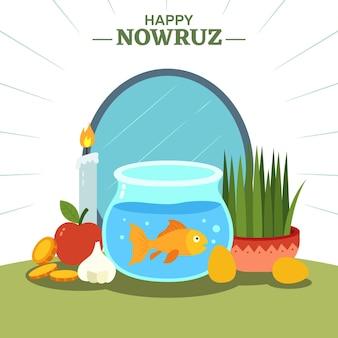 Happy nowruz celebrando la ilustración de diseño plano