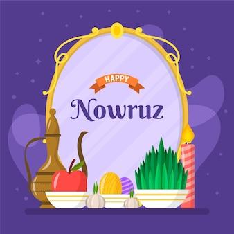 happy nowruz celebrando ilustración plana