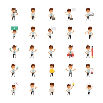 Happy office workers flat vector icons set