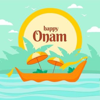 Happy onam con bote y sombrillas
